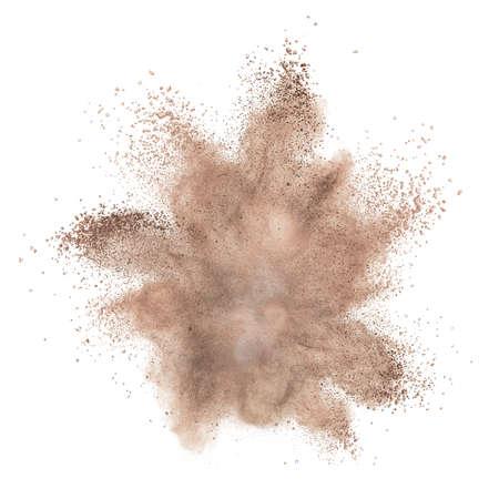 powder foundation explosion isolated on white background