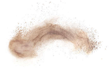black powder: powder foundation explosion isolated on white background