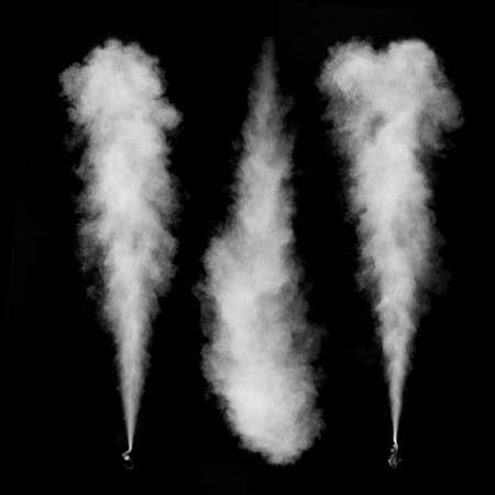Witte rook set geïsoleerd op een zwarte achtergrond Stockfoto