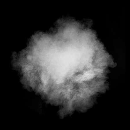 검은 배경에 고립 흰 연기