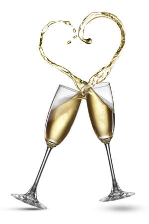 falling in love: Champagne splash in shape of heart isolated on white Stock Photo