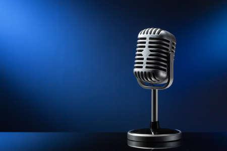 microfono de radio: Micrófono retro en fondo azul