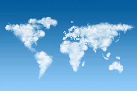 the natural world: world map made of white clouds on sky