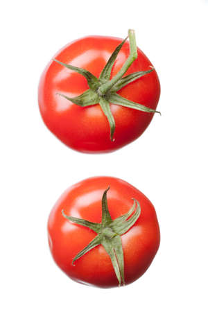 tomato: two red tomatoes isolated on white