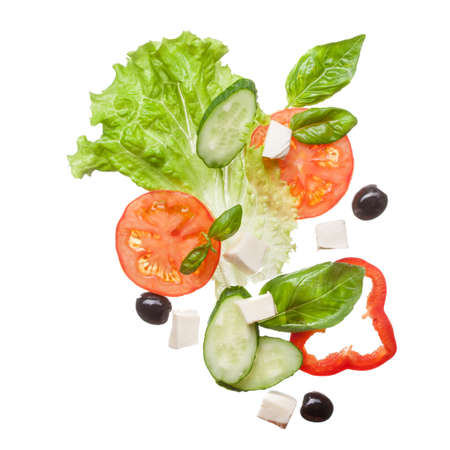 vegetable salad: salad isolated in white, top view