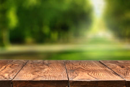 Empty wooden table with city park on background