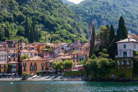 lake como: View of Varenna on Como lake, Italy