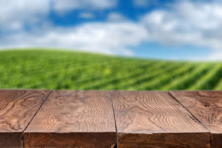 Empty wooden table with vineyard landscape in France on background