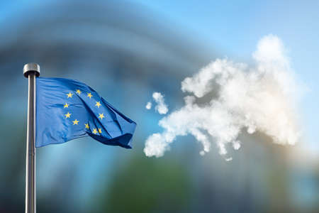 international crisis: European union flag and map of Europe made of clouds Stock Photo