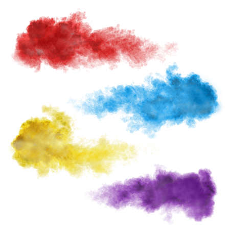 Set of color smoke explosions isolated on white background Imagens