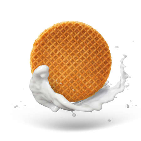 Waffle with caramel and milk splash isolated on white background with shadow 스톡 콘텐츠