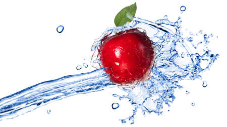 green apples: Red apple with leaf and water splash isolated on white. Header for website