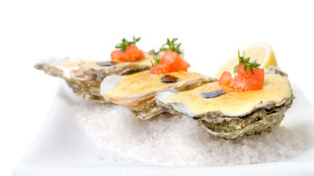 food tray: oysters with sauce. Header for website