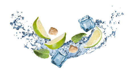 mohito: ingredients of mohito cocktail with water splash isolated on white. Header for website
