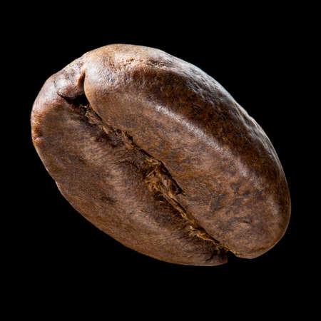 grano de cafe: Coffee bean isolated on black background. Big size close up photo of single bean Foto de archivo