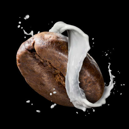black bean: Coffee bean with milk splash isolated on black background Stock Photo