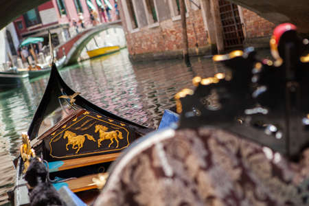 waterbus: Gondola nose on water, Venice channel, Italy Stock Photo