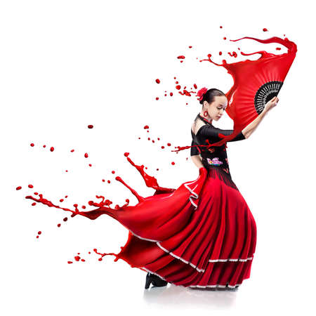 young woman dancing flamenco with red paint splashes isolated on white