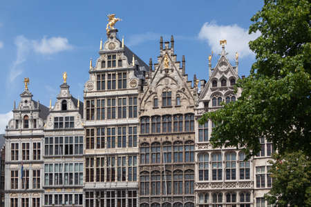 Facades of Guild buildings in the Grote Markt square in old town Cityscape, Antwerpen, Belgium Stock Photo