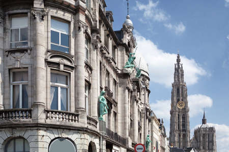 old city: Old building in the city of Antwerp, Belgium