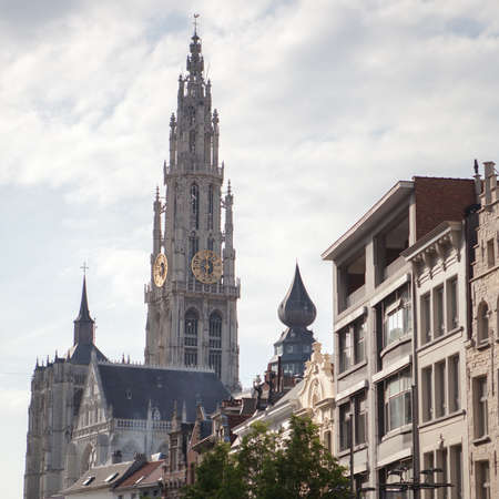 below: Church of Our Lady Bruges from below, Belgium