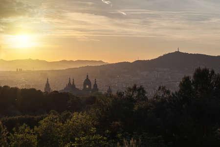 barsa: Beautiful sunset on National Museum in Barcelona, Spain Stock Photo