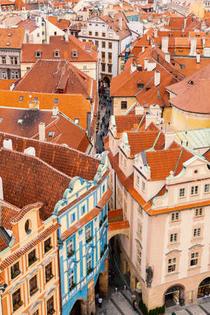 panoramic view: Aerial view over Old Town in Prague, Czech Republic Stock Photo