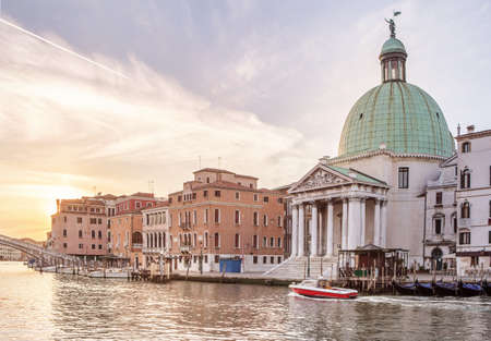 Church San Simeone Piccolo on embankment of Canal Grande in Venice, Italy