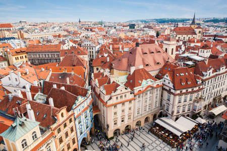 avenues: The aerial view on the wide city avenues in Prague