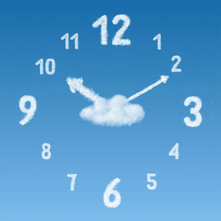 clock on a background of blue sky and clouds of arrows