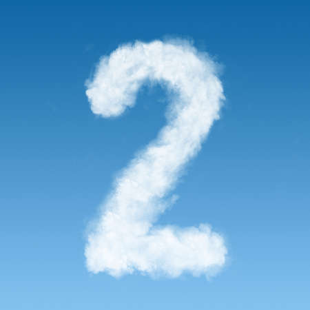 white clouds: number two made of white clouds on blue background, not render. Concept idea
