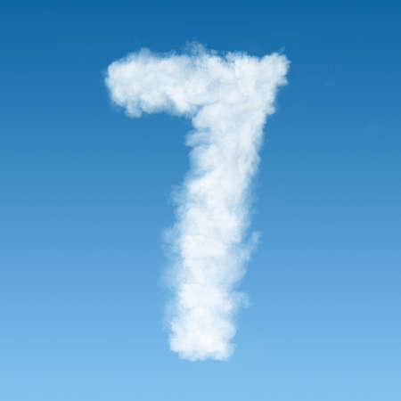 number seven made of white clouds on blue background, not render. Concept idea Stock Photo