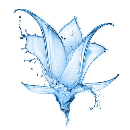 blue flower made of water splash isolated on white background Stockfoto
