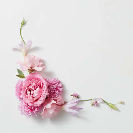 Bouquet of pink roses with space for text on white background