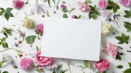 Beautiful spring floral frame on a white background is made of white flowers with a special place for your text