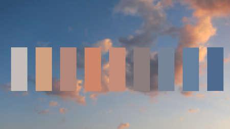 durazno: Textura del cielo y las nubes al atardecer, muestras de paleta de colores.