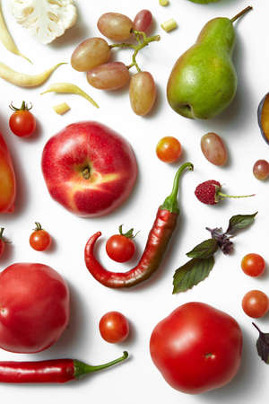 photography backdrop: Healthy food background, studio photography of different fruits and vegetables on white backdrop