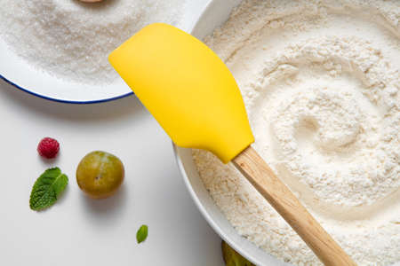 Preparation Baking Accessories Kitchen Composition White Table l Dishes Table Ware Fresh Grocery Different Support Stuff Stock Photo