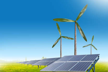 Green energy concept - natural wind generator turbines and solar panels on summer landscape