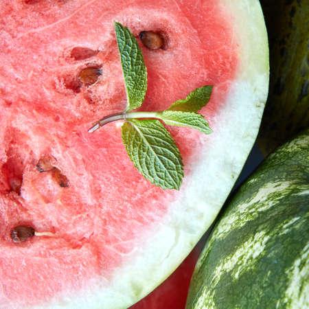 fresh leaf: fresh watermelon with mint leaf. Food background
