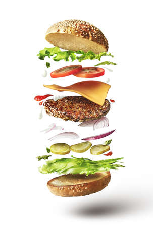 Delicious hamburger with flying ingredients on white background 免版税图像 - 64894532