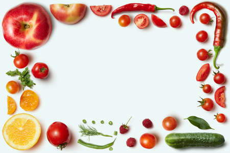 unusual vegetables: Frame of vegetables and fruits on white background. Unusual place for text about cooking, nutrition, healthy lifestyles, Italian food,