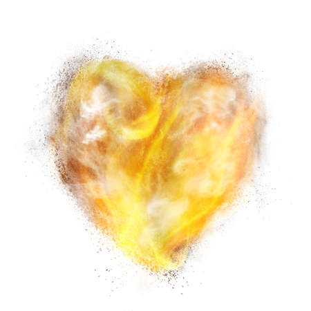 white heart: heart made of powder explosion, fire and smoke isolated on white background