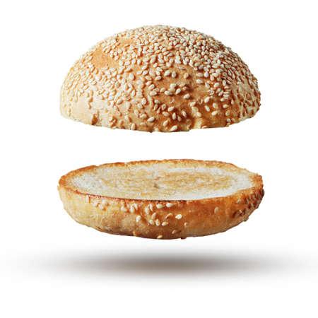 bollos: Burger bollo vacío aislado Foto de archivo