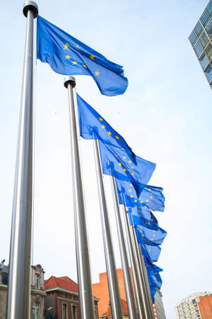 election commission: Flags in front of the EU Commission building