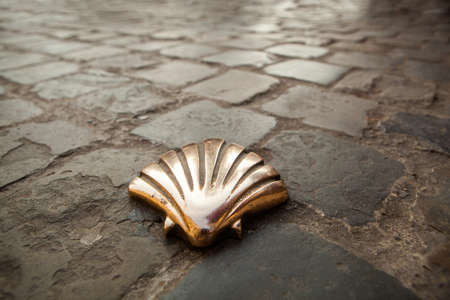 camino de santiago: St James shell in Brussels Stock Photo