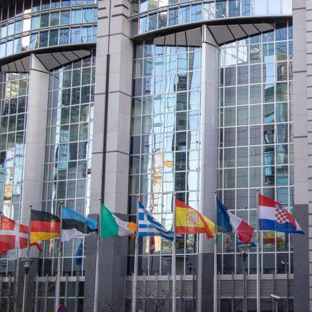 belgique: European Parliament offices and flags