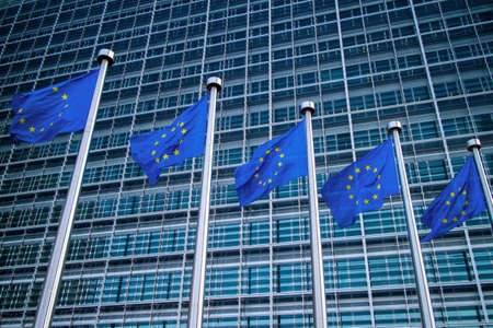 European flags in front of the Berlaymont building Stock Photo