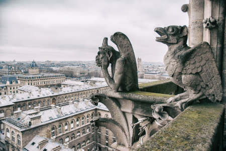 gargouille: gargoyle sits on top of Notre Dame
