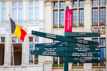 belgique: traditional directional signs for tourists in center of Brussels, Stock Photo